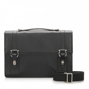 Ferragamo Gancini Leather Briefcase