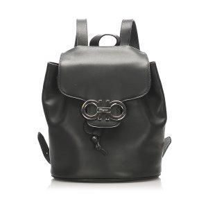 Ferragamo Gancini Leather Drawstring Backpack