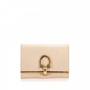 Ferragamo Key Case beige leather