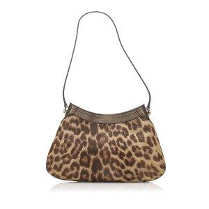 Ferragamo Gancini Leopard Print Pony Hair Shoulder Bag