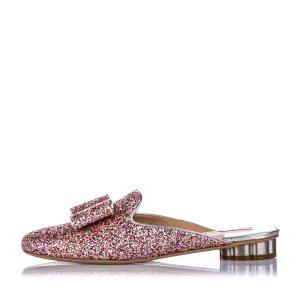 Ferragamo Glitter Flower Heel Mule Slipper Shoe