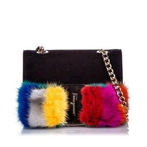 Ferragamo Mini Crossbody Vara Bow Fur Bag