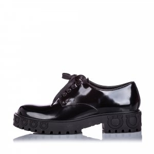 Ferragamo Patent Leather Gancini Lace-Up Shoe