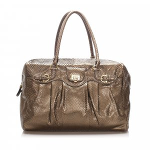 Ferragamo Python Leather Tote Bag