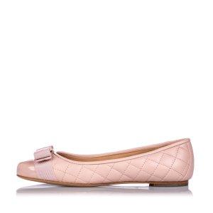Ferragamo Quilted Lambskin Leather Varina Ballet Flat