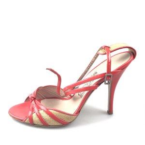 Ferragamo Raffia and Patent Sandal