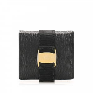 Ferragamo Tri-Fold Vara Lizard Leather Small Wallet