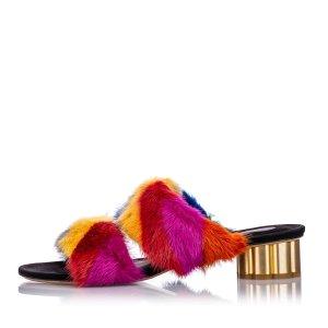 Ferragamo Two-Banded Flower Heel Fur Sandal