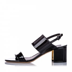 Ferragamo Two-Banded Patent Leather Flower Heel Sandal