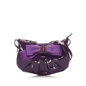 Ferragamo Vara Bow Patent Leather Shoulder Bag