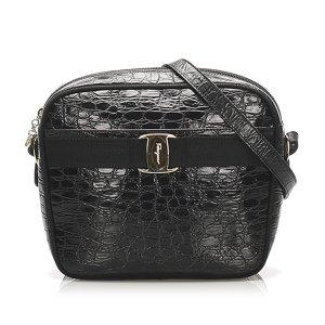 Ferragamo Vara Croc Embossed Leather Crossbody Bag