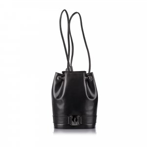 Ferragamo Vara Drawstring Leather Backpack