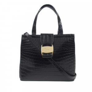 Ferragamo Vara Embossed Leather Satchel