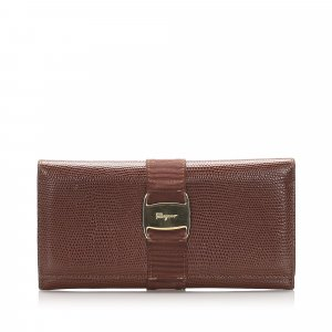 Ferragamo Vara Leather Long Wallet