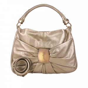 Ferragamo Vara Metallic Leather Satchel