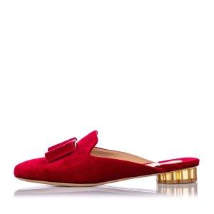 Ferragamo Velvet Flower Heel Mule Slipper Shoe