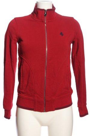 Ferrari Sweatshirt rot-schwarz Schriftzug gestickt Casual-Look
