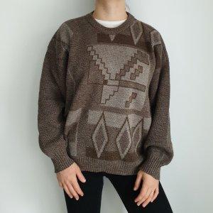Ferre XXL braun beige Oversize Pullover Hoodie Pulli Sweater Top Oberteil True Vintage Muster