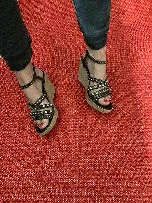 Fesche Keil Sandaletten mit Glitzersteinen Gr. 9