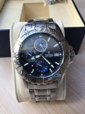 Festina Watch With Metal Strap silver-colored-dark blue