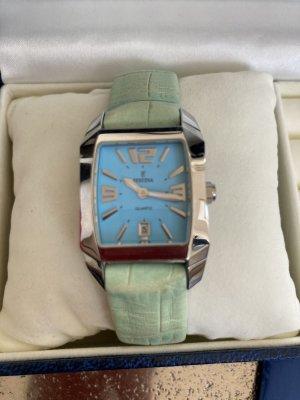 Festina Uhr blau mint grün Leder Armband