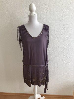 Pepe Jeans London Fringed Dress grey lilac-mauve