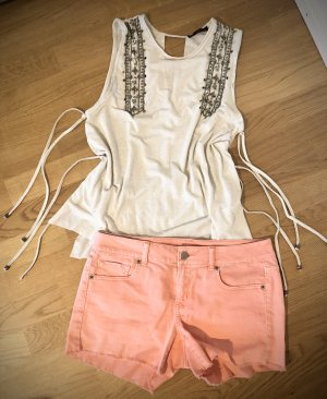 Urban Outfitters Denim Shorts natural white-neon pink