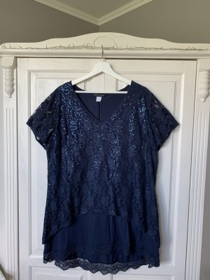 Ashley Brooke Lace Blouse dark blue