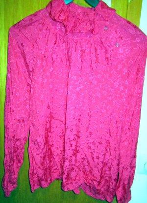 Festliche Rüschen-/Romantik-Bluse-ORGINAL 70's-VINTAGE- pink-Paisleydruck-Gr. 38