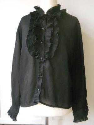 Festliche Vintage Bluse mit Volant 70er Rüschenblüse Gr. 46/48