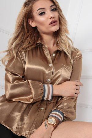 ⋙•-•-•-•➤Festliche Vokuhila Bluse in GOLD glänzend mit Streifen / Stripes ◉ S M L (Uni)
