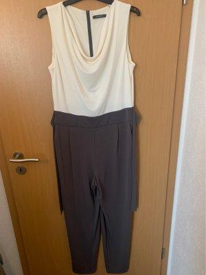 Esprit Traje de pantalón blanco-gris oscuro