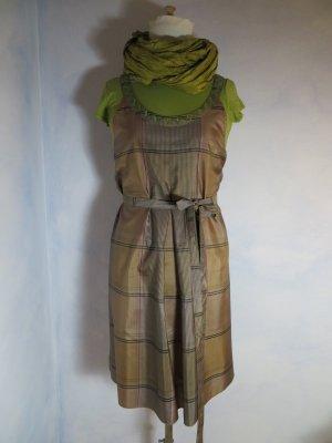 Festliches GUDRUN SJÖDEN Seiden Kleid 100% Seide Träger Kleid M 38 grün hellbraun Weihnachten Silvester
