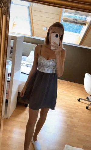 H&M Sequin Dress silver-colored