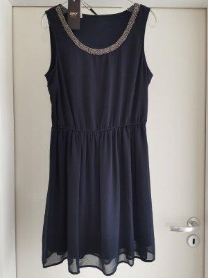 festliches Kleid mit Perlenverzierung Gr. 40 in Dunkelblau