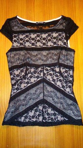 Orsay Koronkowy top czarny-kremowy Elastan