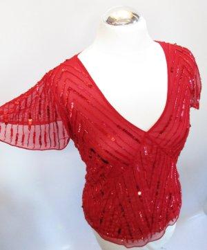 Festliches Shirt Top Vera Mont Größe M 40 Rot Perlen Bestickt Pailetten Netzshirt Pary V-Neck
