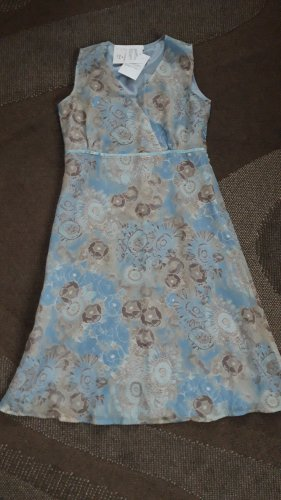 Festtagskleid Sommerkleid Wickelkleidoptik hellblau beige Gr.38