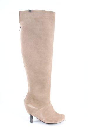 Feud london Botas sobre la rodilla crema look casual