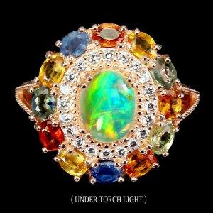 Feuer opal Regenbogen mit Saphir steinen Grosse 56 (17,8)