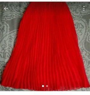 H&M Gonna pieghettata rosso
