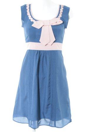 Fever london Blusenkleid kornblumenblau-rosé Schleifen-Detail