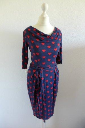 Fever London Kleid Bodycon blau rot Herz Stretch Gr. XS S 34 36