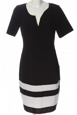 Fever london Vestido de manga corta negro-blanco estampado a rayas look casual
