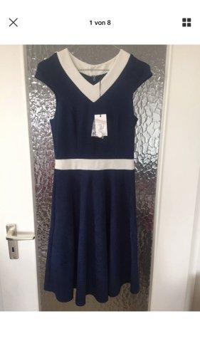 Fever London Lombardia A Line Dress Navy/White Vintage Kleid 34 NEU