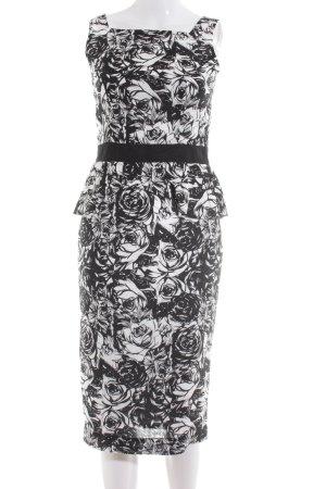 Fever london Midikleid schwarz-weiß Blumenmuster Elegant