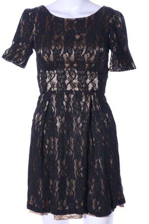 Fever london Koronkowa sukienka czarny-brąz Elegancki