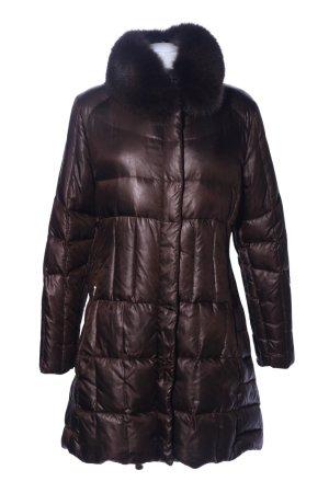 Feyem Płaszcz puchowy brązowy Pikowany wzór W stylu casual