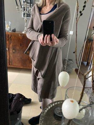 FFC Gilet long tricoté marron clair cachemire