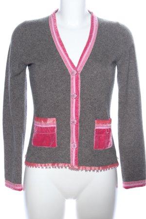 FFC Chaqueta de lana gris claro-rosa moteado look casual